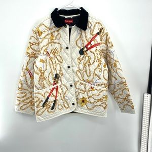 Supreme Chains Quilted Jacket White Men's Size M
